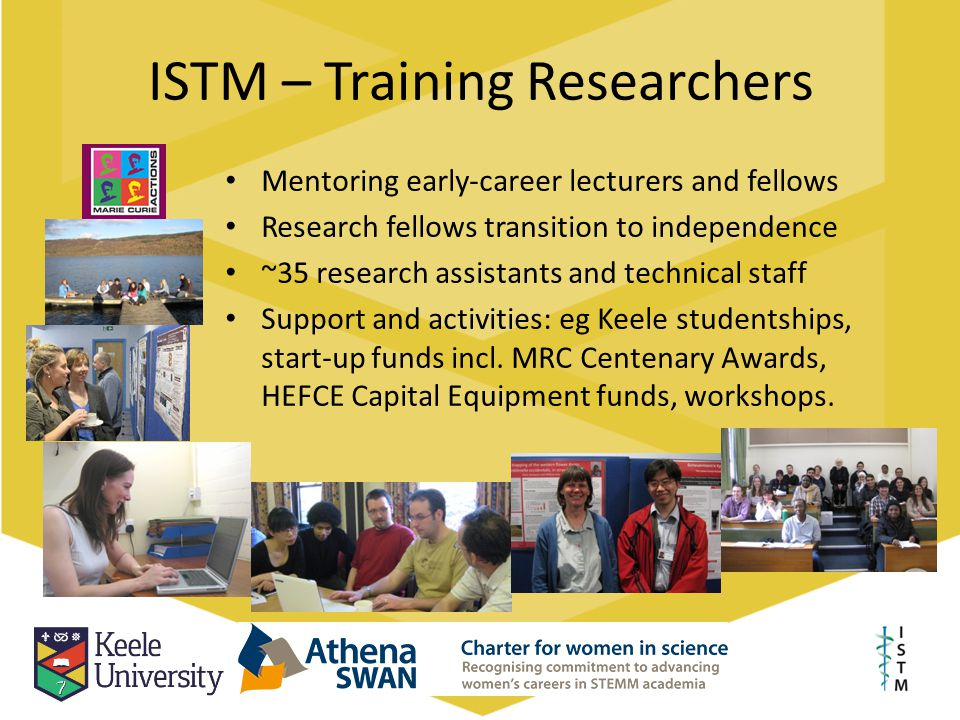 ISTM – Training Researchers Mentoring early-career lecturers and fellows Research fellows transition to independence ~35 research assistants and techn