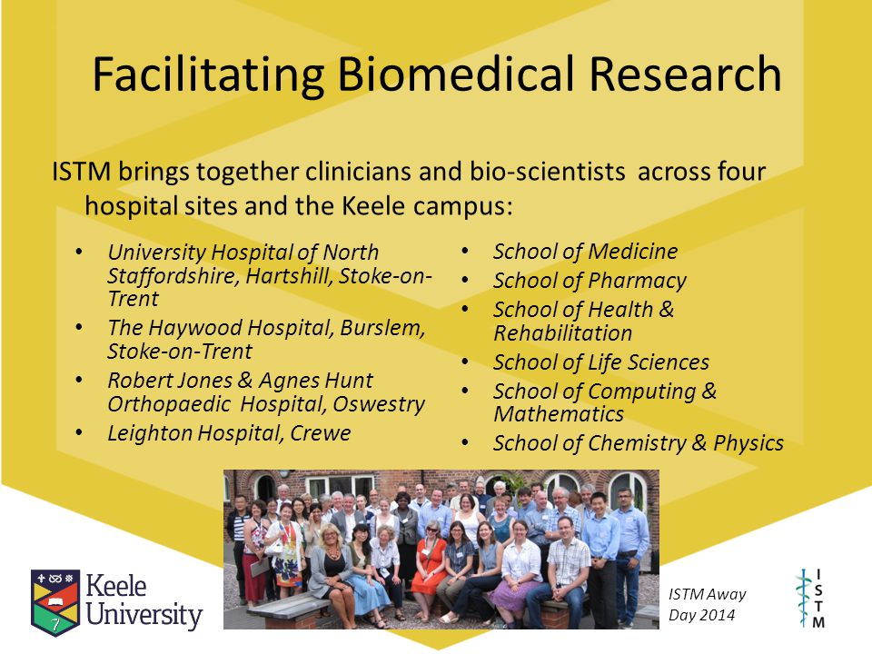 Facilitating Biomedical Research ISTM brings together clinicians and bio-scientists across four hospital sites and the Keele campus: University Hospit