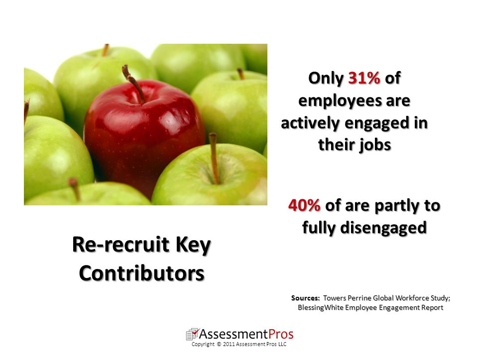 Only 31% of employees are actively engaged in their jobs 40% of are partly to fully disengaged Sources: Towers Perrine Global Workforce Study; BlessingWhite Employee Engagement Report Re-recruit Key Contributors Copyright © 2011 Assessment Pros LLC