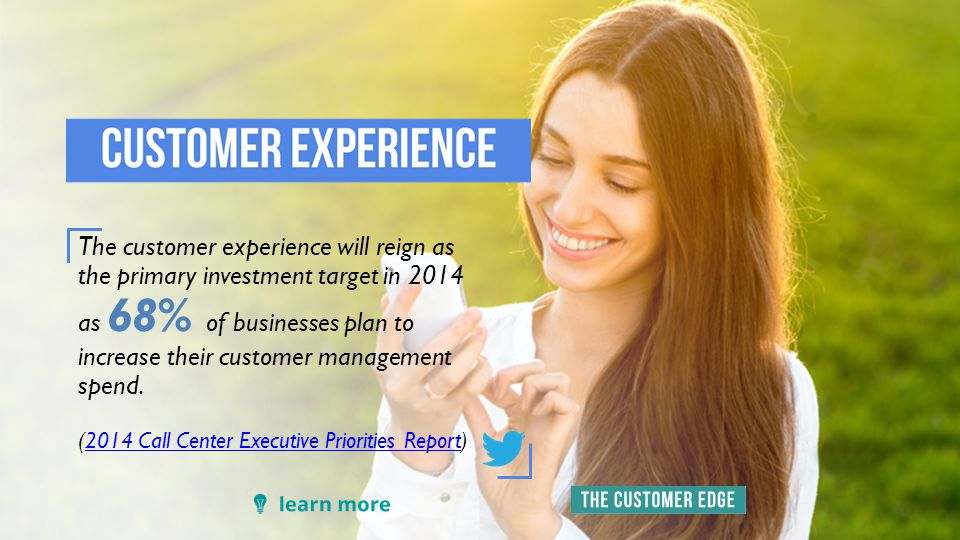 The customer experience will reign as the primary investment target in 2014 as 68% of businesses plan to increase their customer management spend.