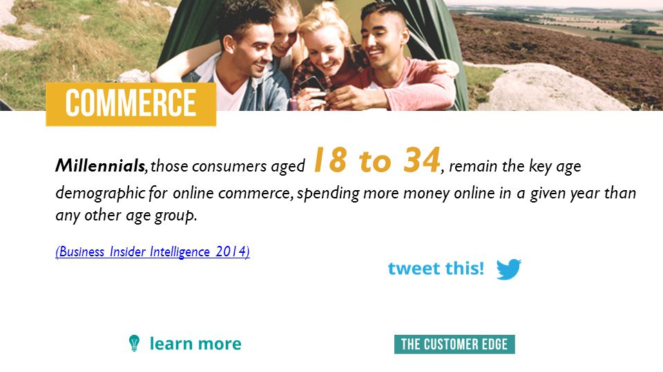 Millennials, those consumers aged 18 to 34, remain the key age demographic for online commerce, spending more money online in a given year than any other age group.