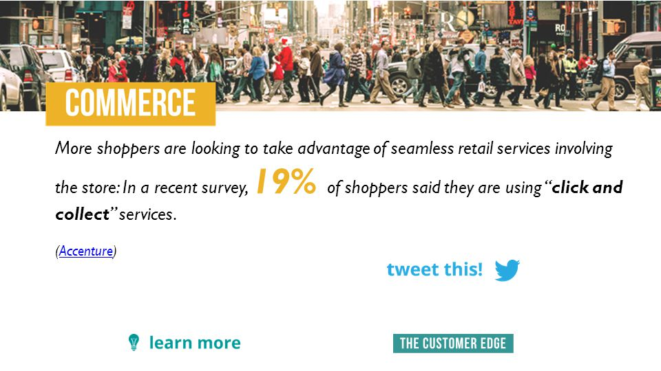 More shoppers are looking to take advantage of seamless retail services involving the store: In a recent survey, 19% of shoppers said they are using click and collect services.