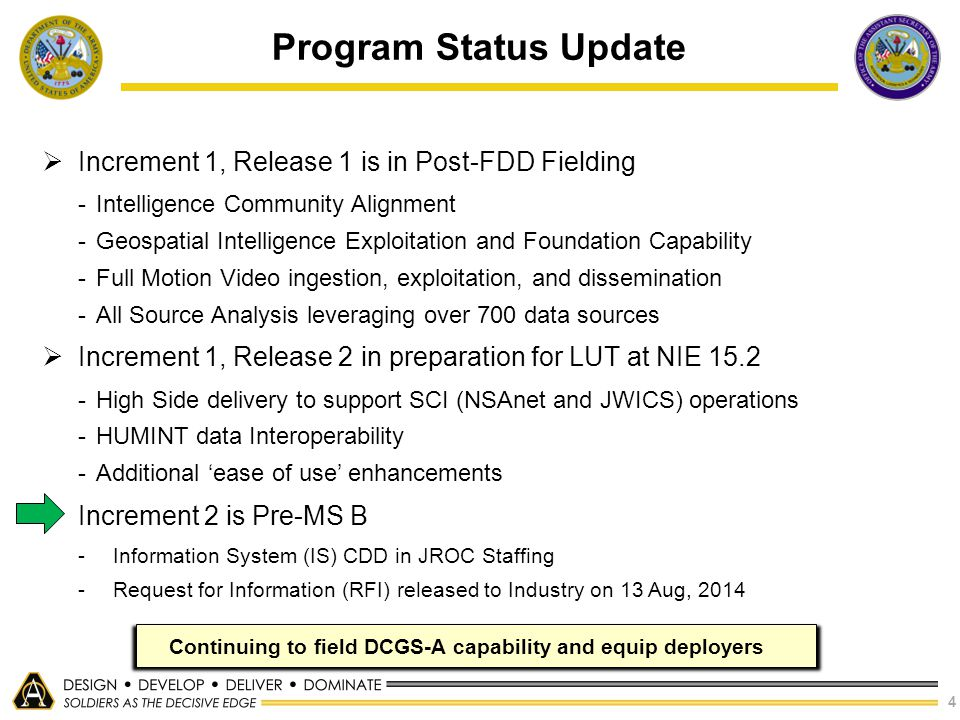 4  Increment 1, Release 1 is in Post-FDD Fielding -Intelligence Community Alignment -Geospatial Intelligence Exploitation and Foundation Capability -