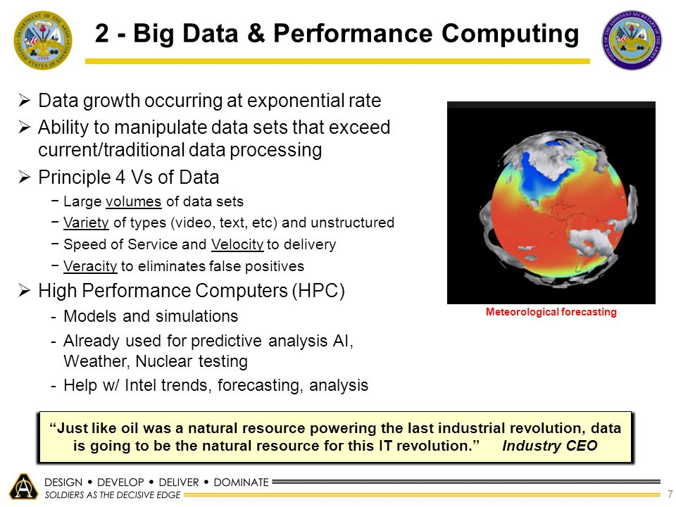 7 2 - Big Data & Performance Computing  Data growth occurring at exponential rate  Ability to manipulate data sets that exceed current/traditional d