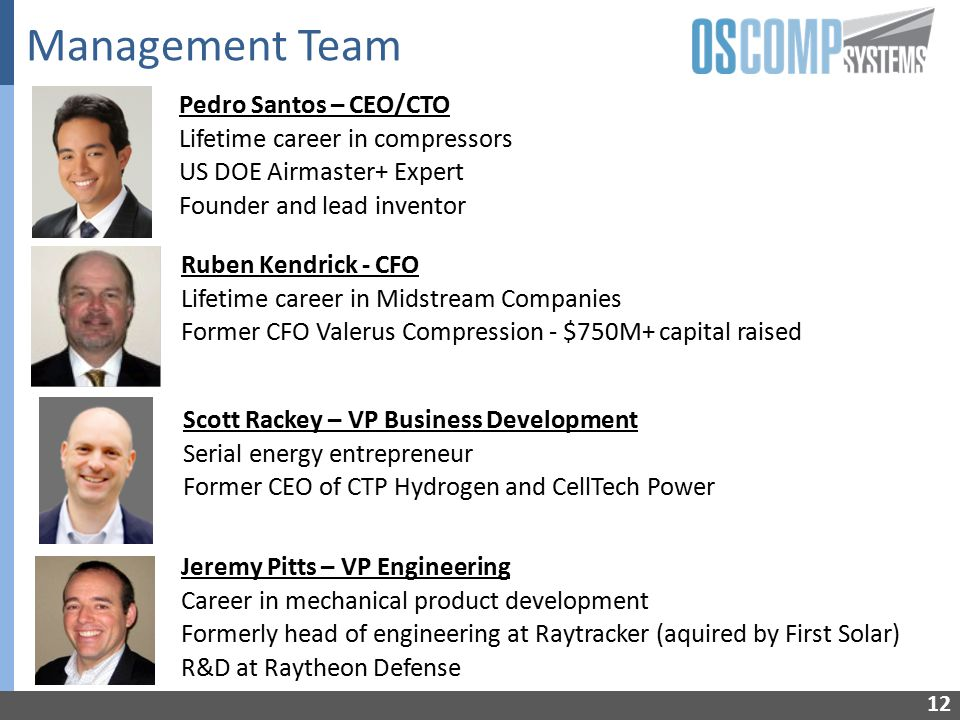 Management Team Pedro Santos – CEO/CTO Lifetime career in compressors US DOE Airmaster+ Expert Founder and lead inventor Jeremy Pitts – VP Engineering Career in mechanical product development Formerly head of engineering at Raytracker (aquired by First Solar) R&D at Raytheon Defense Ruben Kendrick - CFO Lifetime career in Midstream Companies Former CFO Valerus Compression - $750M+ capital raised Scott Rackey – VP Business Development Serial energy entrepreneur Former CEO of CTP Hydrogen and CellTech Power 12