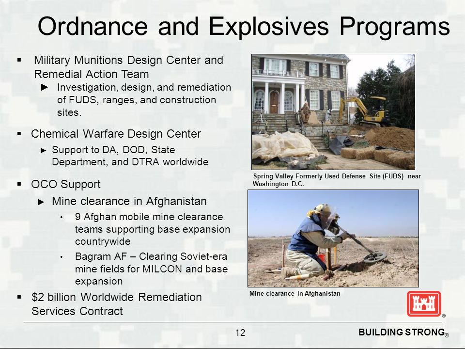 BUILDING STRONG ® Ordnance and Explosives Programs  Chemical Warfare Design Center ► Support to DA, DOD, State Department, and DTRA worldwide 12 Spri