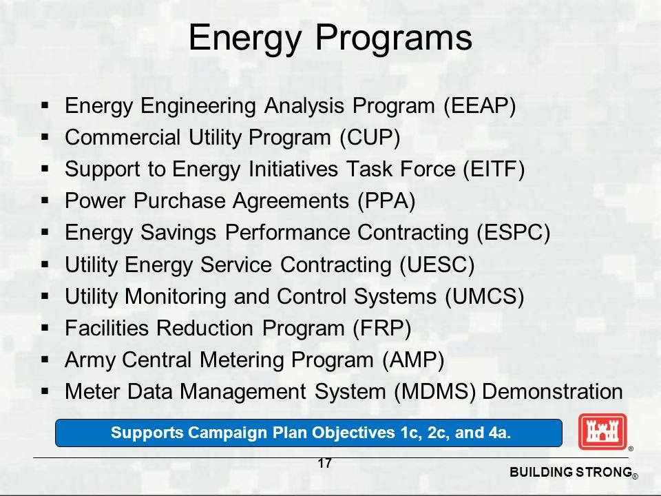 BUILDING STRONG ® Energy Programs  Energy Engineering Analysis Program (EEAP)  Commercial Utility Program (CUP)  Support to Energy Initiatives Task