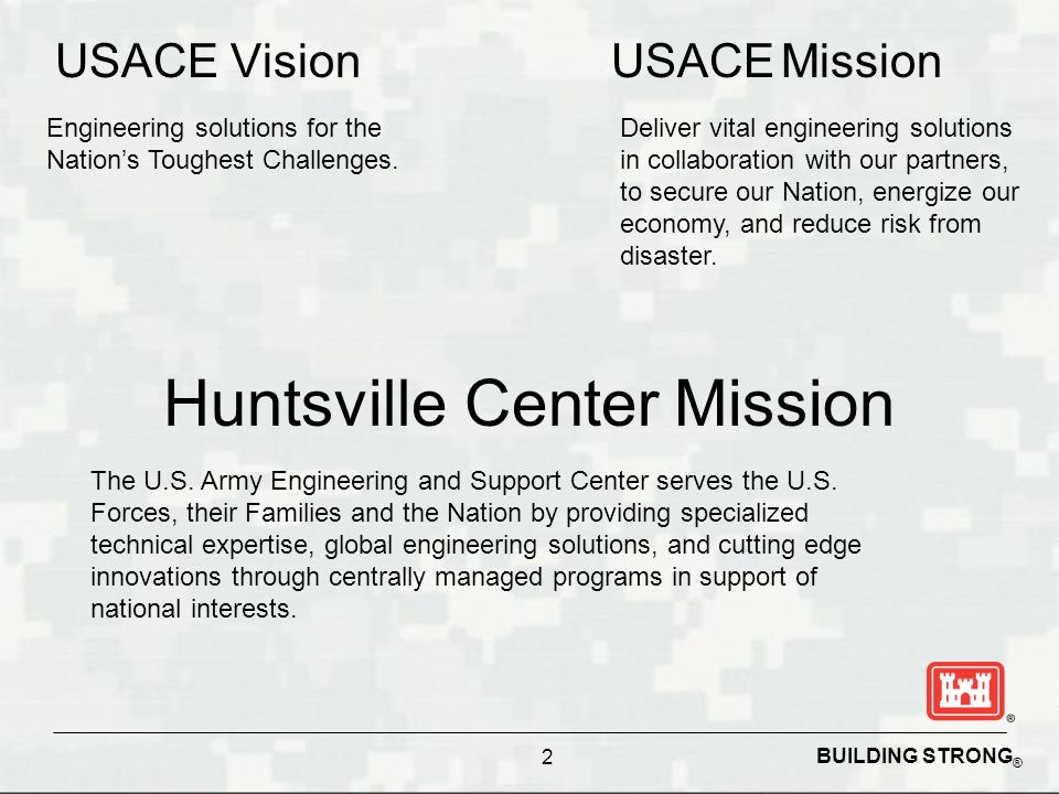 BUILDING STRONG ® Huntsville Center Mission USACE Vision 2 Engineering solutions for the Nation's Toughest Challenges. USACE Mission Deliver vital eng