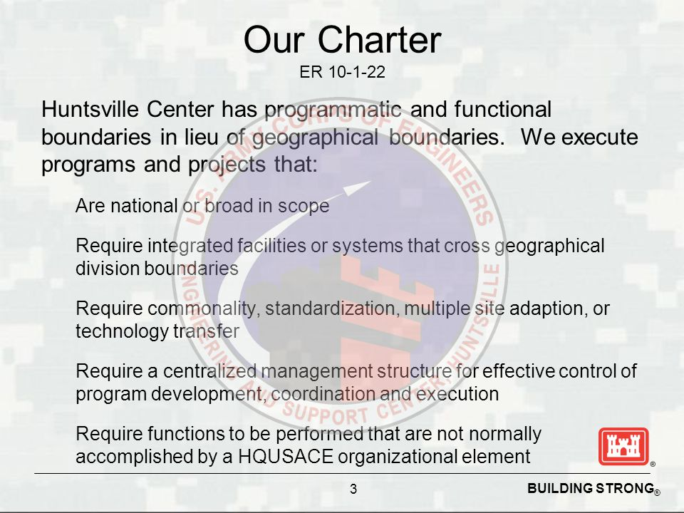 BUILDING STRONG ® Huntsville Center Footprint FY12 Obligations ~ $1.8 B  Installation Support ~ $1.2M  Engineering~ $75M (includes Medical CX of ~ $5M)  Chemical Demil ~ $120M  Ordnance Explosives ~ $250M  Environmental and Munitions CX ~ $40M Customers: Very diverse customer base which includes DOD and many Federal government agencies.