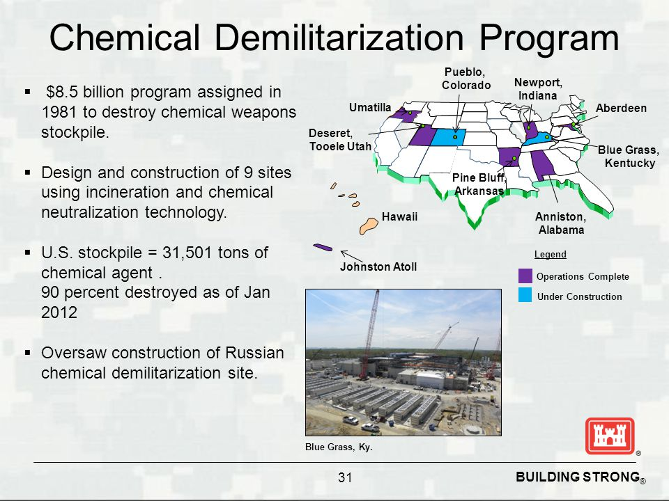 BUILDING STRONG ® Chemical Demilitarization Program 31  $8.5 billion program assigned in 1981 to destroy chemical weapons stockpile.  Design and con