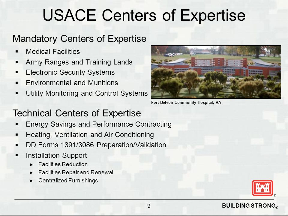 USACE Centers of Expertise  Medical Facilities  Army Ranges and Training Lands  Electronic Security Systems  Environmental and Munitions  Utility
