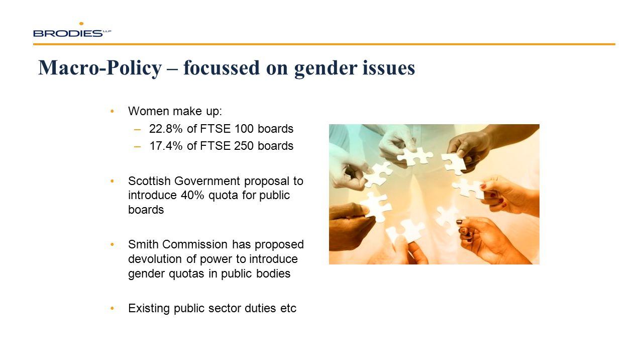 Macro-Policy – focussed on gender issues Women make up: –22.8% of FTSE 100 boards –17.4% of FTSE 250 boards Scottish Government proposal to introduce 40% quota for public boards Smith Commission has proposed devolution of power to introduce gender quotas in public bodies Existing public sector duties etc