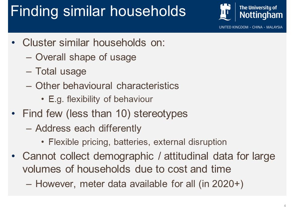4 Cluster similar households on: –Overall shape of usage –Total usage –Other behavioural characteristics E.g.