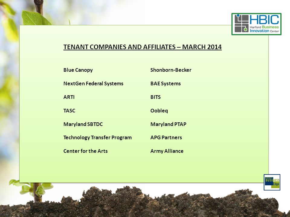 TENANT COMPANIES AND AFFILIATES – MARCH 2014 Blue CanopyShonborn-Becker NextGen Federal SystemsBAE Systems ARTIBITS TASCOobleq Maryland SBTDCMaryland PTAP Technology Transfer ProgramAPG Partners Center for the ArtsArmy Alliance