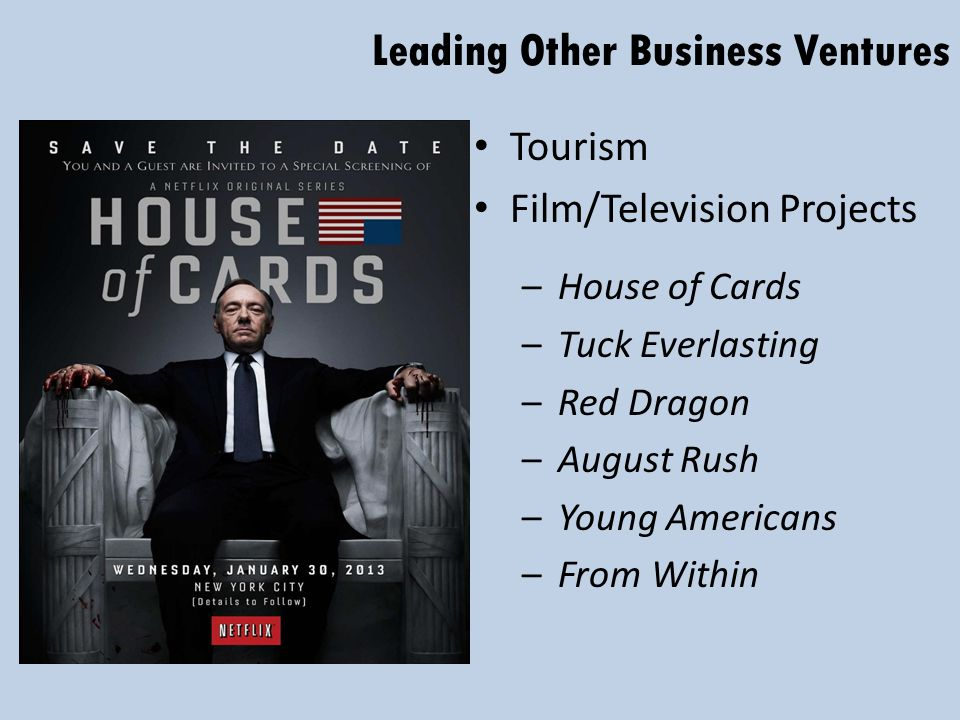 Leading Other Business Ventures Tourism Film/Television Projects –House of Cards –Tuck Everlasting –Red Dragon –August Rush –Young Americans –From Within