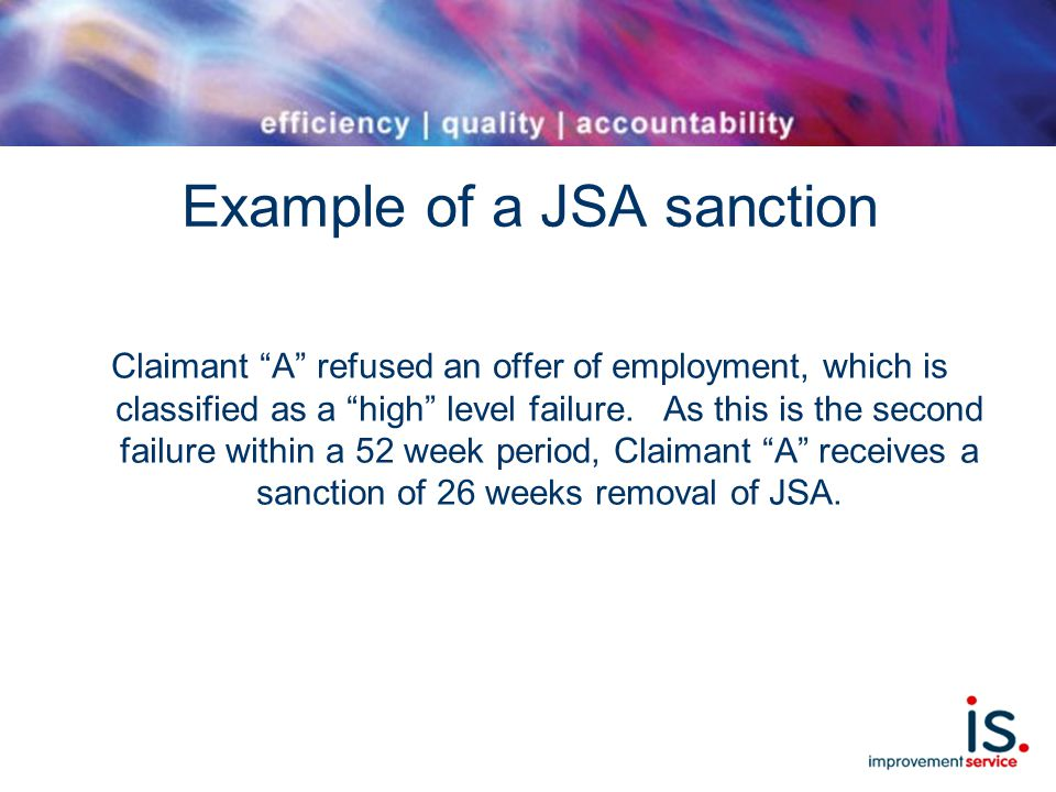 Example of a JSA sanction Claimant A refused an offer of employment, which is classified as a high level failure.
