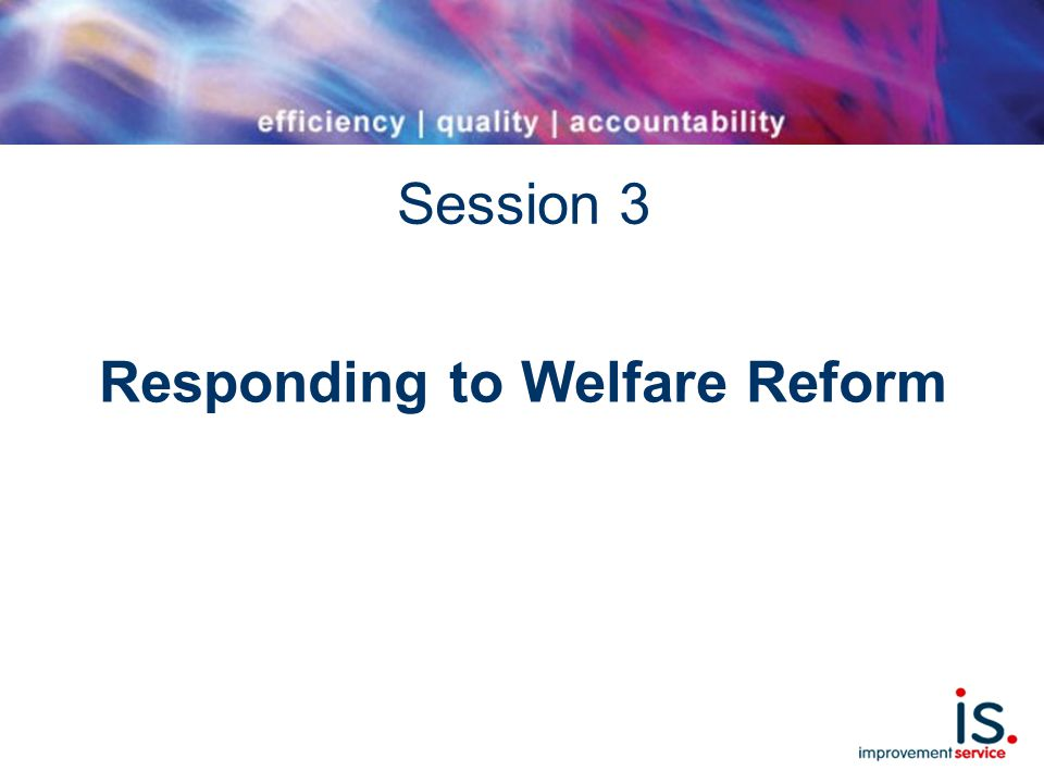 Session 3 Responding to Welfare Reform