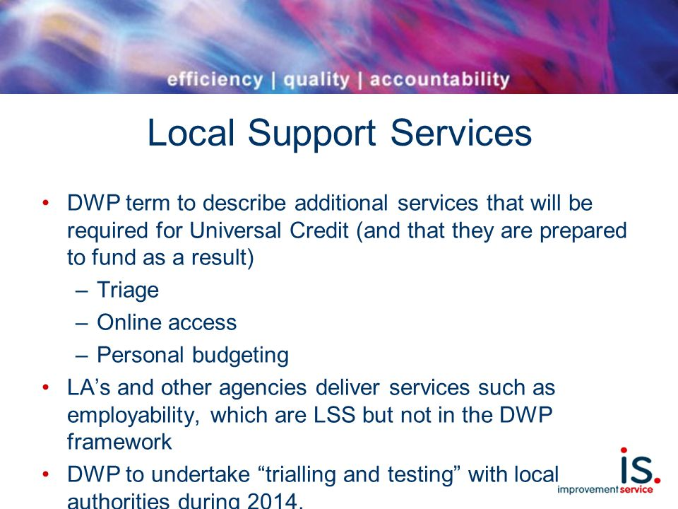Local Support Services DWP term to describe additional services that will be required for Universal Credit (and that they are prepared to fund as a result) –Triage –Online access –Personal budgeting LA's and other agencies deliver services such as employability, which are LSS but not in the DWP framework DWP to undertake trialling and testing with local authorities during 2014.