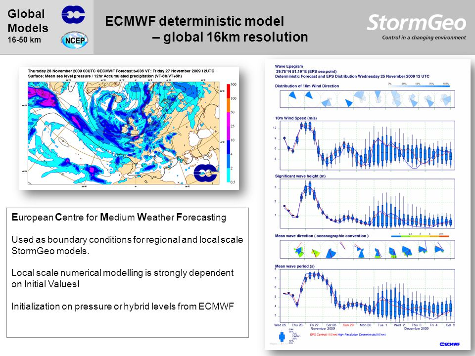 ECMWF deterministic model – global 16km resolution Global Models 16-50 km E uropean C entre for M edium W eather F orecasting Used as boundary conditions for regional and local scale StormGeo models.