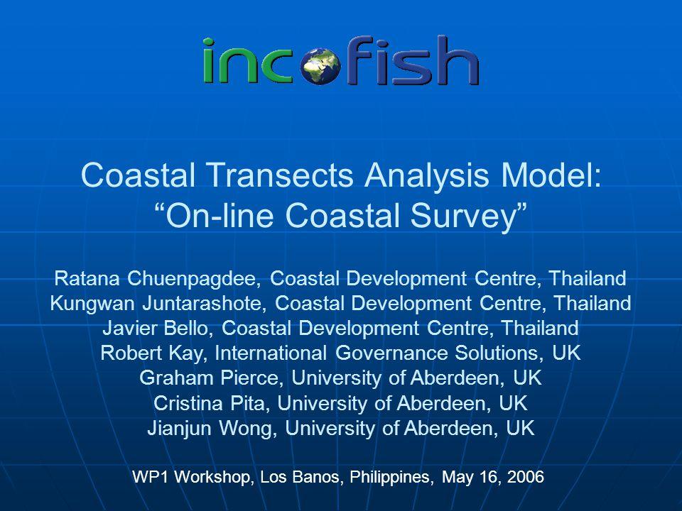 "Coastal Transects Analysis Model: ""On-line Coastal Survey"" WP1 Workshop, Los Banos, Philippines, May 16, 2006 Ratana Chuenpagdee, Coastal Development"