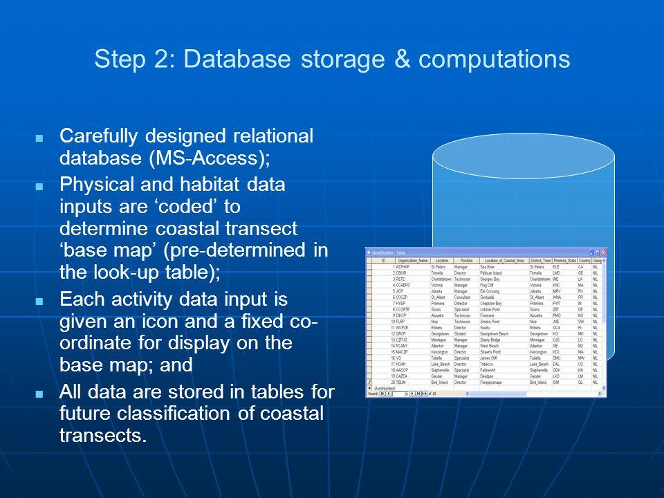 Step 2: Database storage & computations Carefully designed relational database (MS-Access); Physical and habitat data inputs are 'coded' to determine