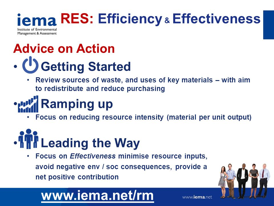 Advice on Action Getting Started Review sources of waste, and uses of key materials – with aim to redistribute and reduce purchasing Ramping up Focus