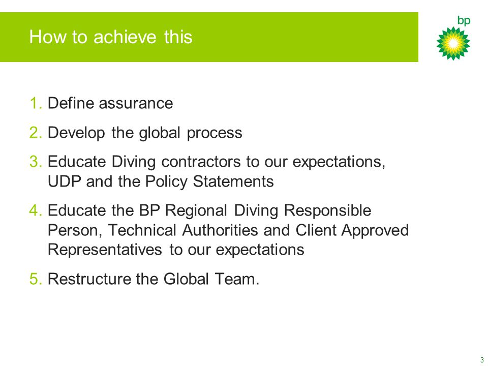 How to achieve this 1.Define assurance 2.Develop the global process 3.Educate Diving contractors to our expectations, UDP and the Policy Statements 4.Educate the BP Regional Diving Responsible Person, Technical Authorities and Client Approved Representatives to our expectations 5.Restructure the Global Team.