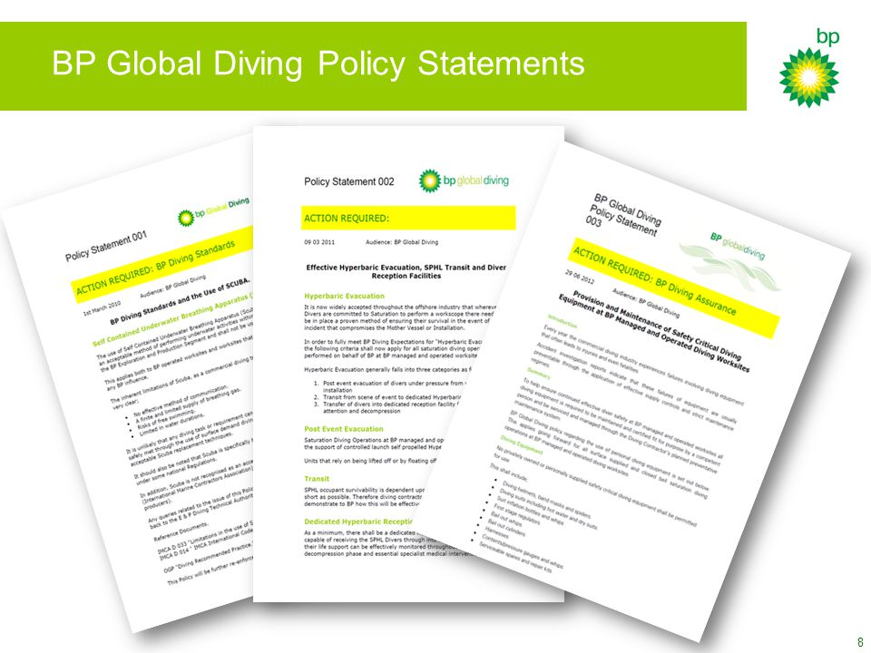 BP Global Diving Policy Statements 8