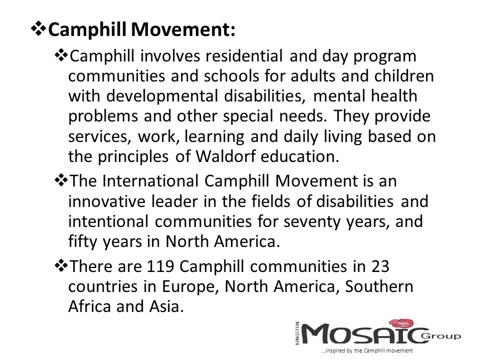  Camphill Movement:  Camphill involves residential and day program communities and schools for adults and children with developmental disabilities, mental health problems and other special needs.