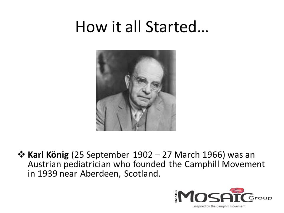How it all Started…  Karl König (25 September 1902 – 27 March 1966) was an Austrian pediatrician who founded the Camphill Movement in 1939 near Aberd