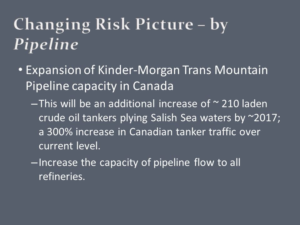 Expansion of Kinder-Morgan Trans Mountain Pipeline capacity in Canada – This will be an additional increase of ~ 210 laden crude oil tankers plying Salish Sea waters by ~2017; a 300% increase in Canadian tanker traffic over current level.