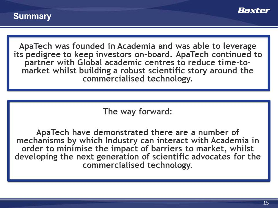 15 Summary ApaTech was founded in Academia and was able to leverage its pedigree to keep investors on-board. ApaTech continued to partner with Global