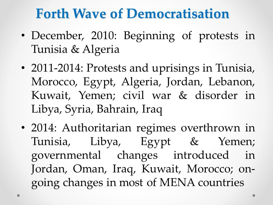 Path 2: From new democracy towards 'Electoral Democracy' Jordan, Algeria, Morocco Dynamics of Democratisation