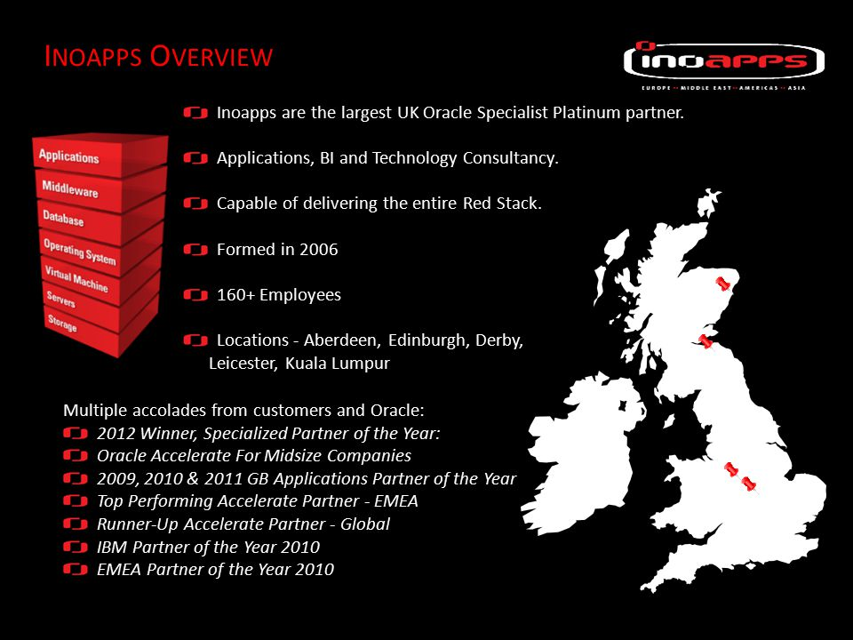 I NOAPPS O VERVIEW Inoapps are the largest UK Oracle Specialist Platinum partner.