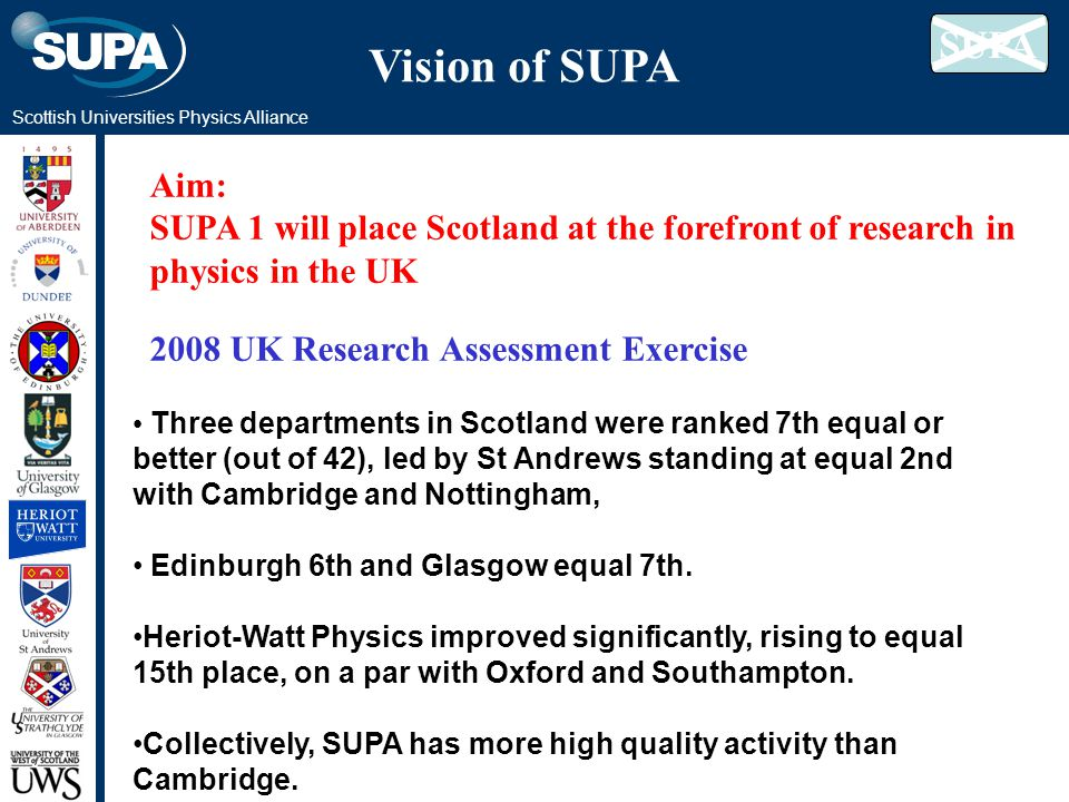 Scottish Universities Physics Alliance Vision of SUPA Aim: SUPA 1 will place Scotland at the forefront of research in physics in the UK 2008 UK Research Assessment Exercise Three departments in Scotland were ranked 7th equal or better (out of 42), led by St Andrews standing at equal 2nd with Cambridge and Nottingham, Edinburgh 6th and Glasgow equal 7th.