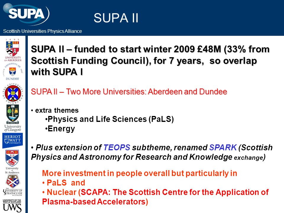 Scottish Universities Physics Alliance SUPA II SUPA ll – funded to start winter 2009 £48M (33% from Scottish Funding Council), for 7 years, so overlap with SUPA l SUPA lI – Two More Universities: Aberdeen and Dundee extra themes Physics and Life Sciences (PaLS) Energy Plus extension of TEOPS subtheme, renamed SPARK (Scottish Physics and Astronomy for Research and Knowledge exchange ) More investment in people overall but particularly in PaLS and Nuclear (SCAPA: The Scottish Centre for the Application of Plasma-based Accelerators)