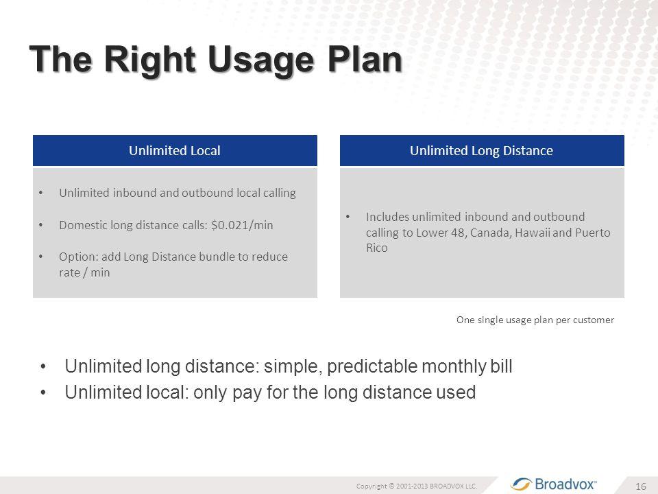 The Right Usage Plan 16 Copyright © 2001-2013 BROADVOX LLC.