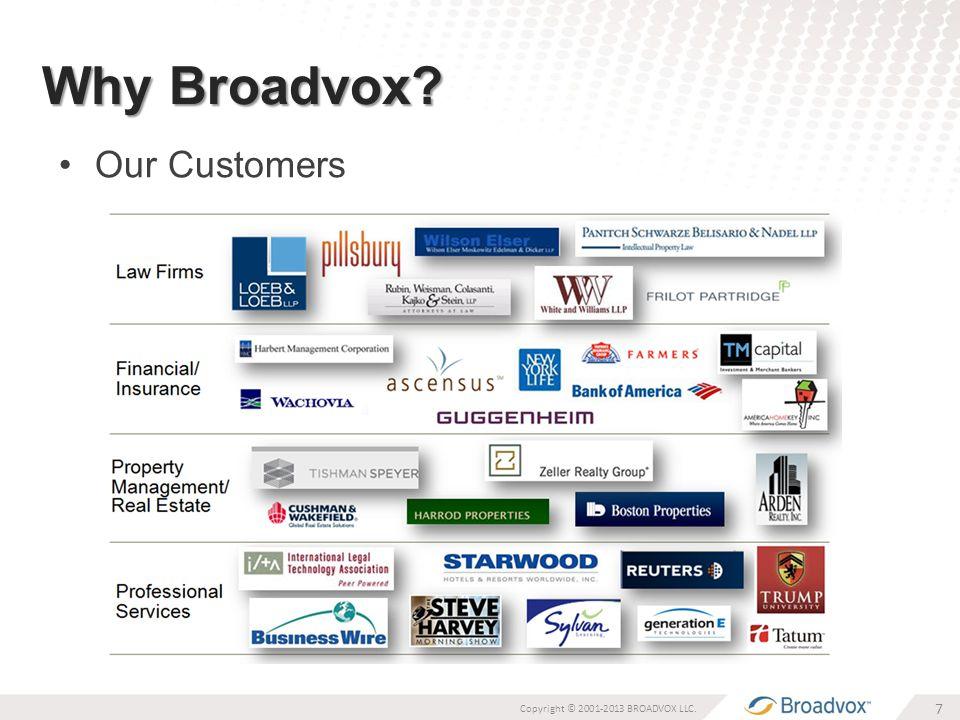 Why Broadvox Our Customers 7 Copyright © 2001-2013 BROADVOX LLC.