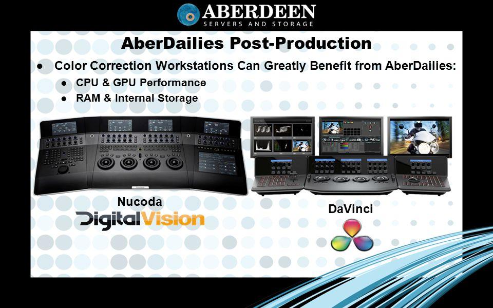 AberDailies Post-Production ● Color Correction Workstations Can Greatly Benefit from AberDailies: ● CPU & GPU Performance ● RAM & Internal Storage Nucoda DaVinci