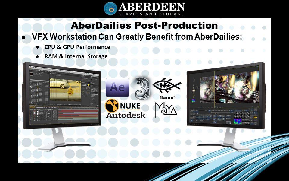 AberDailies Post-Production ● VFX Workstation Can Greatly Benefit from AberDailies: ●CPU & GPU Performance ●RAM & Internal Storage
