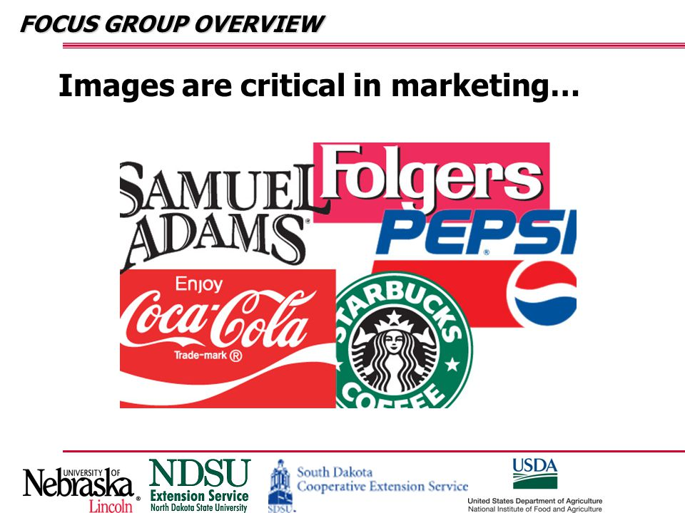 FOCUS GROUP OVERVIEW Images are critical in marketing…