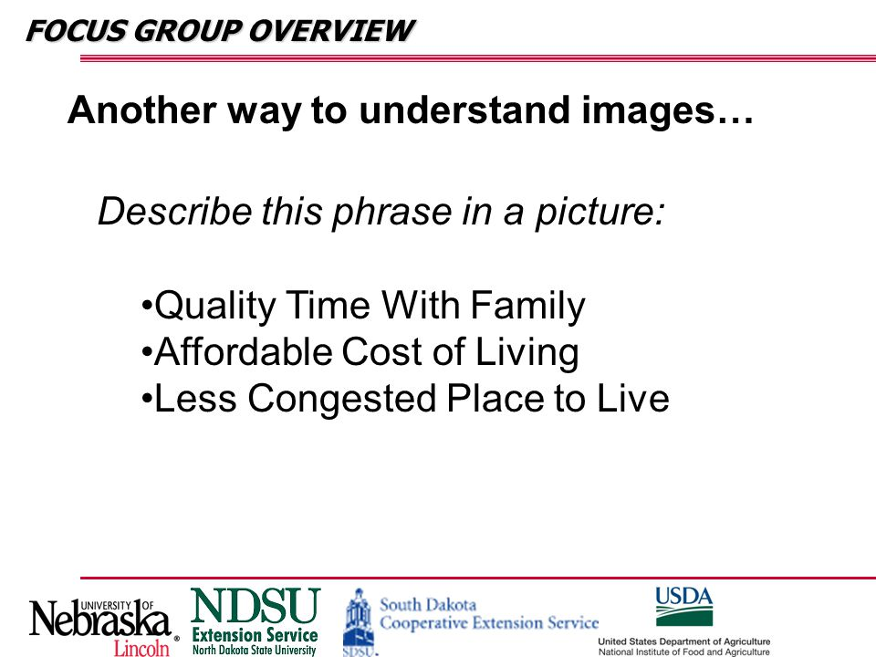 FOCUS GROUP OVERVIEW Another way to understand images… Describe this phrase in a picture: Quality Time With Family Affordable Cost of Living Less Cong