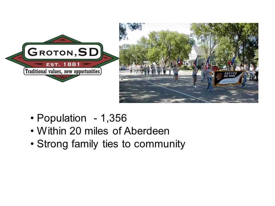 Population - 1,356 Within 20 miles of Aberdeen Strong family ties to community