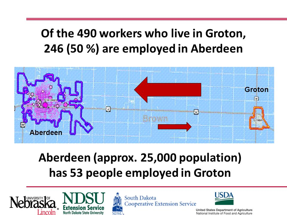 Of the 490 workers who live in Groton, 246 (50 %) are employed in Aberdeen Groton Aberdeen Aberdeen (approx. 25,000 population) has 53 people employed
