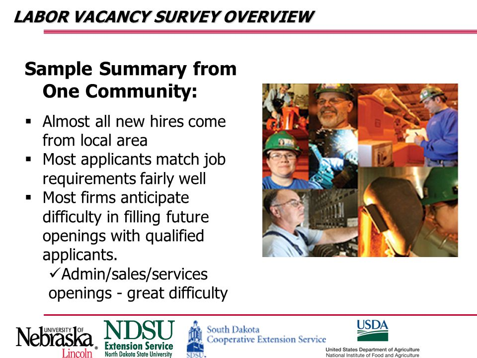 HOUSEHOLD SURVEY Family Considerations were Important Underwood – cost of living and quality time with family Groton – family related reasons Wayne – family ties & employment Stanley – family ties & employment Sidney – employment & family time Hot Springs/Edgemont – environmental reasons