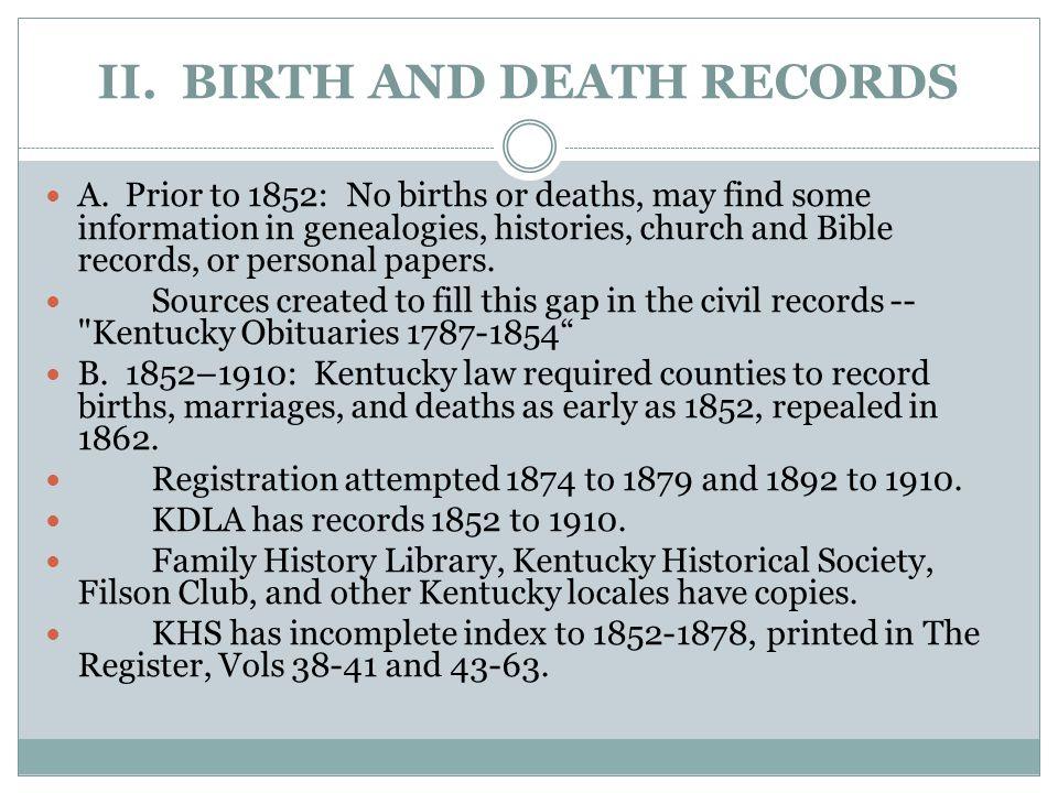 II.BIRTH AND DEATH RECORDS (2) C.