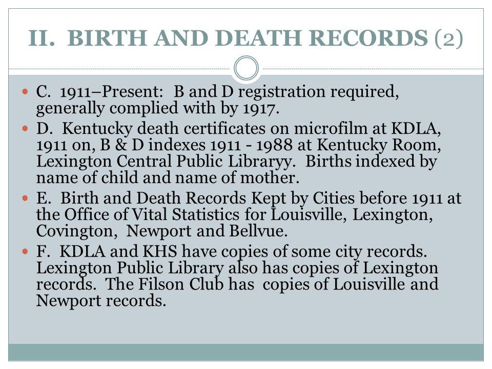 II. BIRTH AND DEATH RECORDS (2) C.