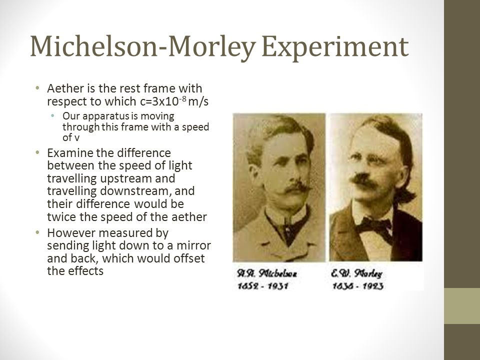 Michelson-Morley Experiment Aether is the rest frame with respect to which c=3x10 -8 m/s Our apparatus is moving through this frame with a speed of v Examine the difference between the speed of light travelling upstream and travelling downstream, and their difference would be twice the speed of the aether However measured by sending light down to a mirror and back, which would offset the effects