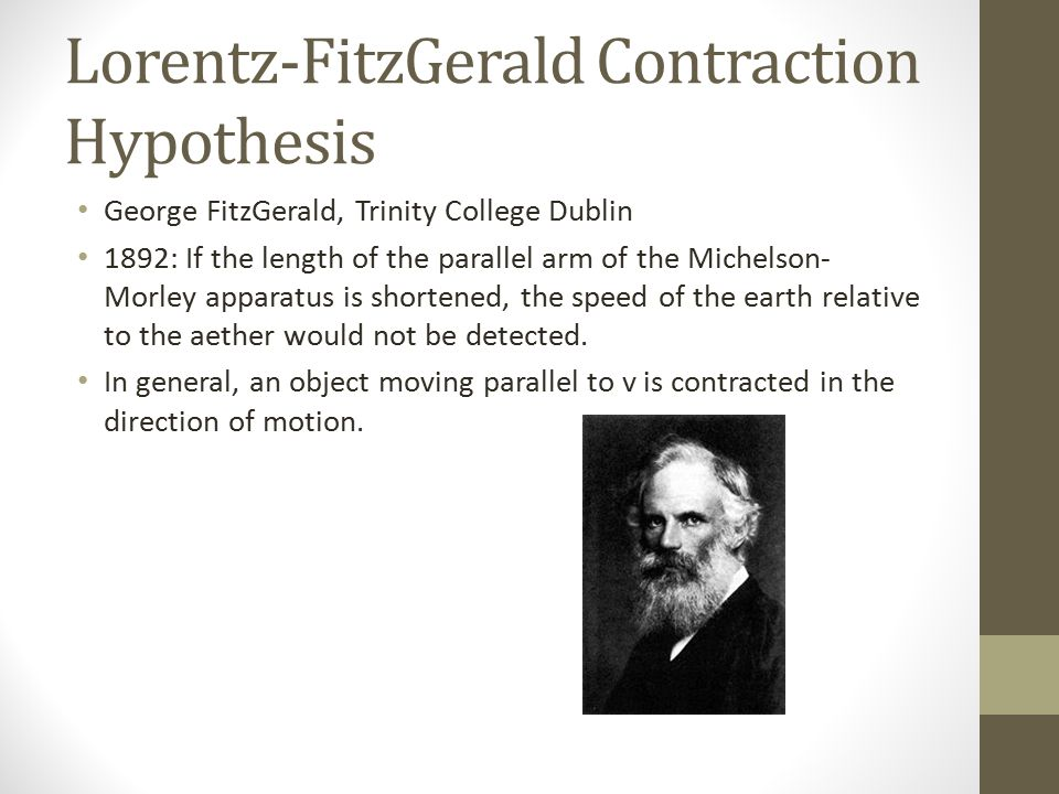 Lorentz-FitzGerald Contraction Hypothesis George FitzGerald, Trinity College Dublin 1892: If the length of the parallel arm of the Michelson- Morley apparatus is shortened, the speed of the earth relative to the aether would not be detected.