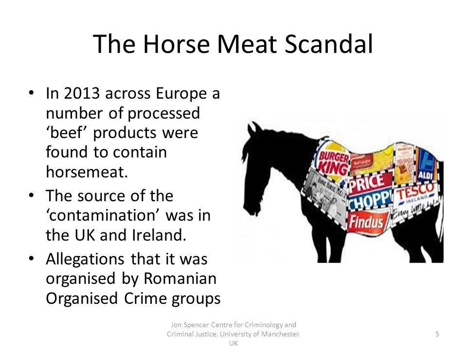The Horse Meat Scandal In 2013 across Europe a number of processed 'beef' products were found to contain horsemeat.
